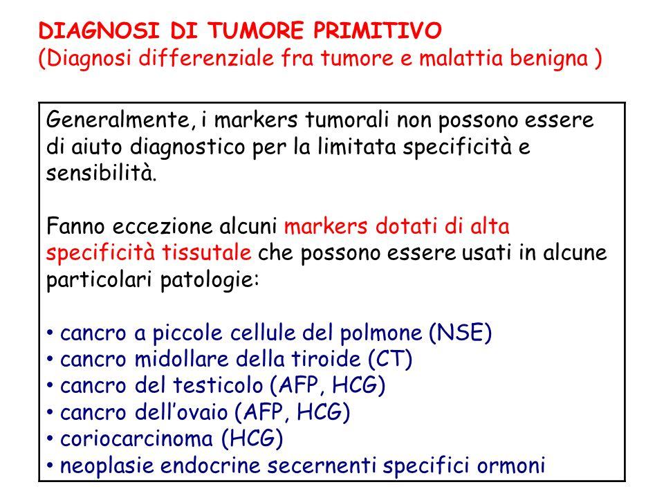 DIAGNOSI DI TUMORE PRIMITIVO (Diagnosi differenziale fra tumore e malattia benigna ) Generalmente, i markers tumorali non possono essere di aiuto diagnostico per la limitata specificità e sensibilità.