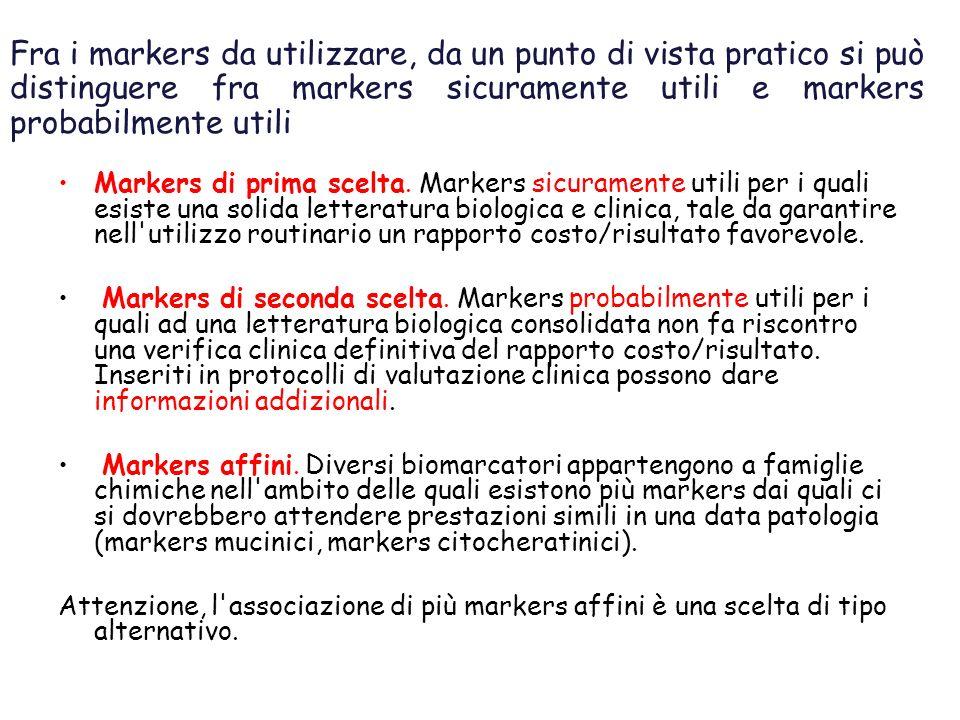 Fra i markers da utilizzare, da un punto di vista pratico si può distinguere fra markers sicuramente utili e markers probabilmente utili Markers di prima scelta.