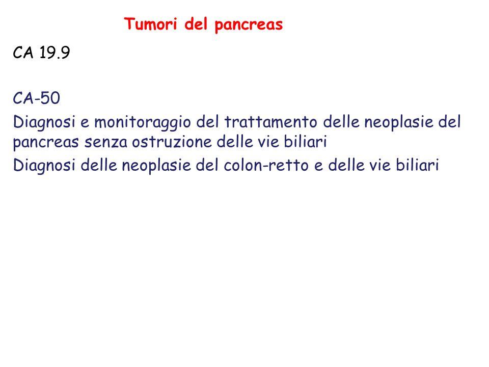 Tumori del pancreas CA 19.9 CA-50 Diagnosi e monitoraggio del trattamento delle neoplasie del pancreas senza ostruzione delle vie biliari Diagnosi delle neoplasie del colon-retto e delle vie biliari