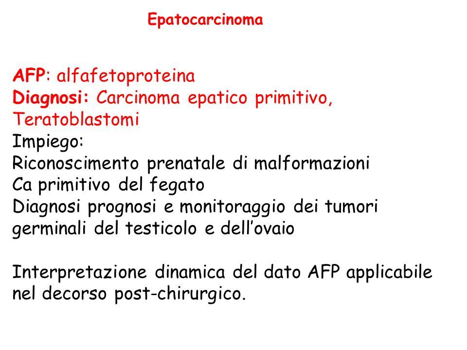 Epatocarcinoma AFP: alfafetoproteina Diagnosi: Carcinoma epatico primitivo, Teratoblastomi Impiego: Riconoscimento prenatale di malformazioni Ca primitivo del fegato Diagnosi prognosi e monitoraggio dei tumori germinali del testicolo e dellovaio Interpretazione dinamica del dato AFP applicabile nel decorso post-chirurgico.