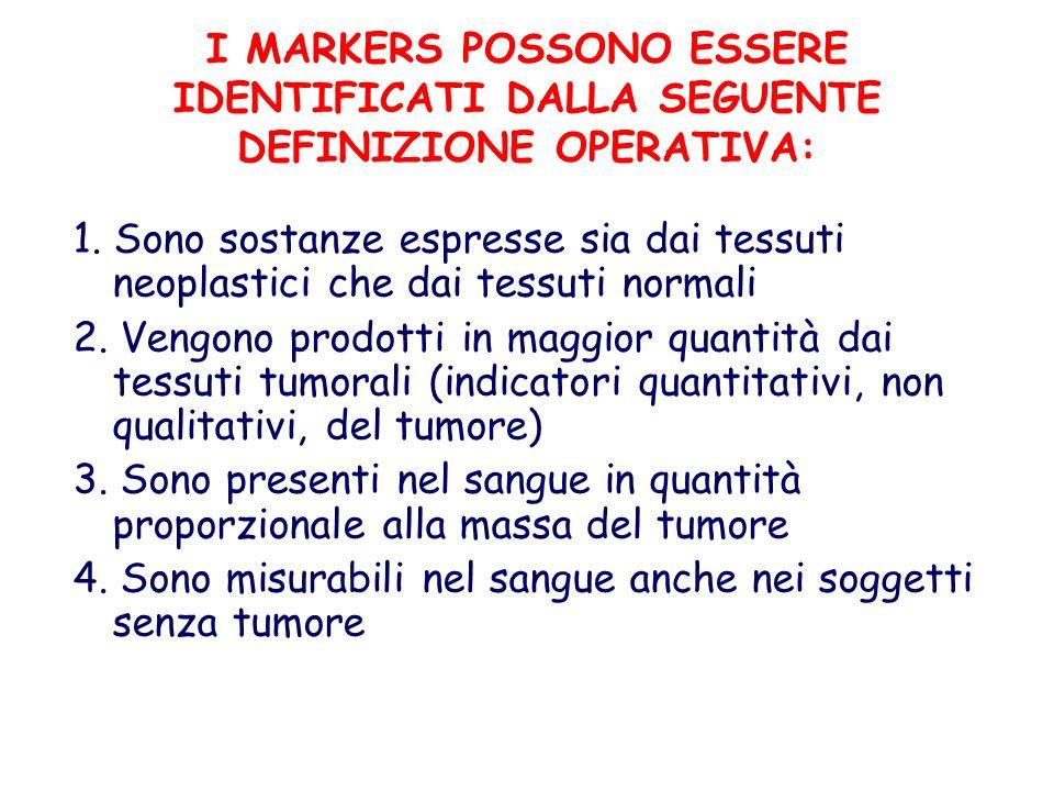 I MARKERS POSSONO ESSERE IDENTIFICATI DALLA SEGUENTE DEFINIZIONE OPERATIVA: 1. Sono sostanze espresse sia dai tessuti neoplastici che dai tessuti norm