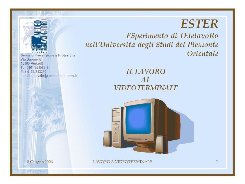 8 Giugno 2006LAVORO A VIDEOTERMINALE1 IL LAVORO AL VIDEOTERMINALE ESTER ESperimento di TElelavoRo nellUniversità degli Studi del Piemonte Orientale Se
