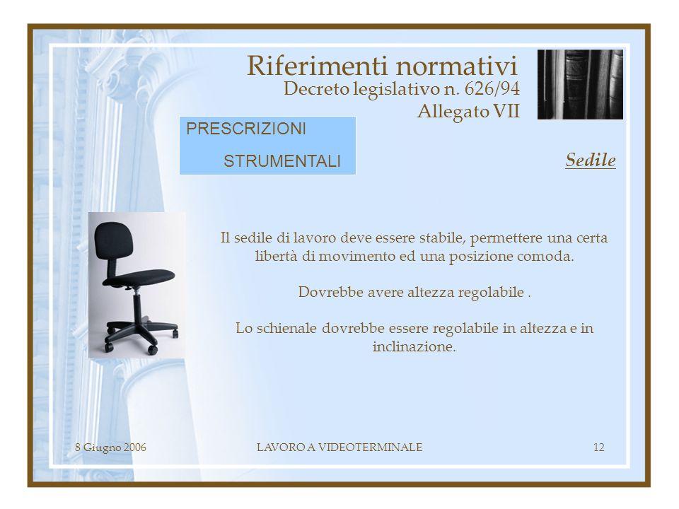 8 Giugno 2006LAVORO A VIDEOTERMINALE12 Riferimenti normativi Decreto legislativo n. 626/94 Allegato VII Il sedile di lavoro deve essere stabile, perme