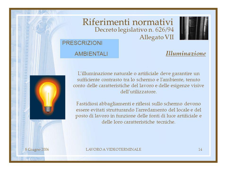 8 Giugno 2006LAVORO A VIDEOTERMINALE14 Riferimenti normativi Decreto legislativo n. 626/94 Allegato VII Lilluminazione naturale o artificiale deve gar
