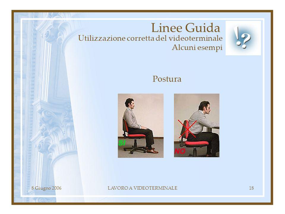 8 Giugno 2006LAVORO A VIDEOTERMINALE18 Linee Guida Utilizzazione corretta del videoterminale Alcuni esempi Postura