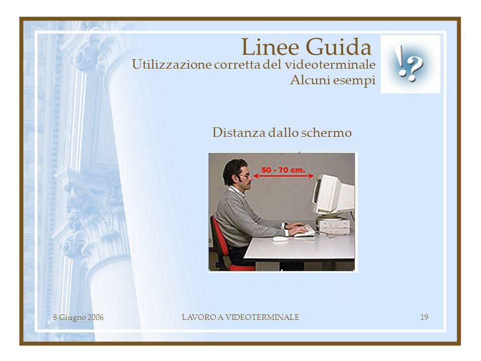 8 Giugno 2006LAVORO A VIDEOTERMINALE19 Linee Guida Utilizzazione corretta del videoterminale Alcuni esempi Distanza dallo schermo