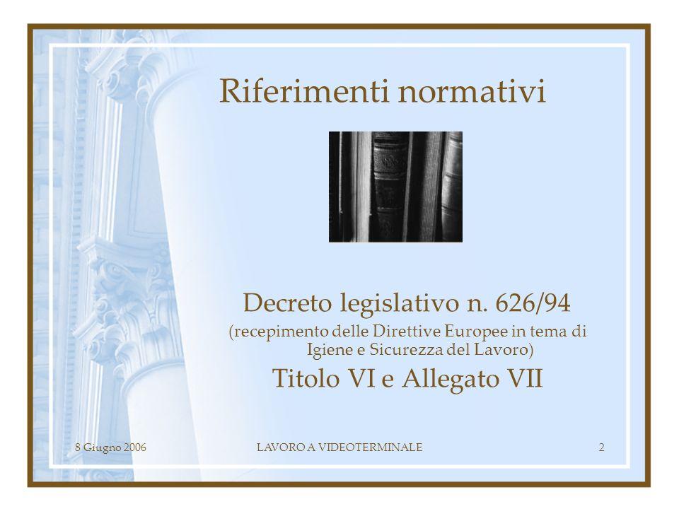 8 Giugno 2006LAVORO A VIDEOTERMINALE2 Riferimenti normativi Decreto legislativo n. 626/94 (recepimento delle Direttive Europee in tema di Igiene e Sic