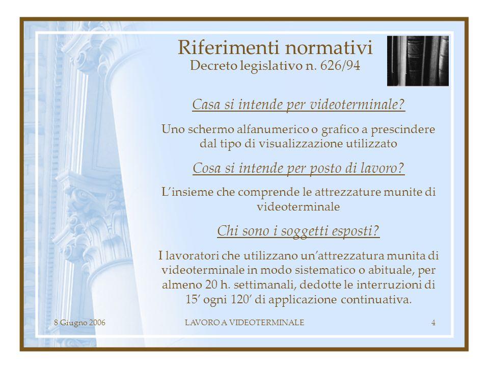 8 Giugno 2006LAVORO A VIDEOTERMINALE4 Riferimenti normativi Decreto legislativo n. 626/94 Casa si intende per videoterminale? Uno schermo alfanumerico