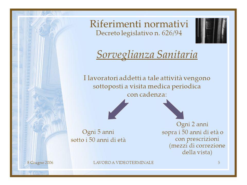 8 Giugno 2006LAVORO A VIDEOTERMINALE5 Riferimenti normativi Decreto legislativo n. 626/94 Sorveglianza Sanitaria I lavoratori addetti a tale attività