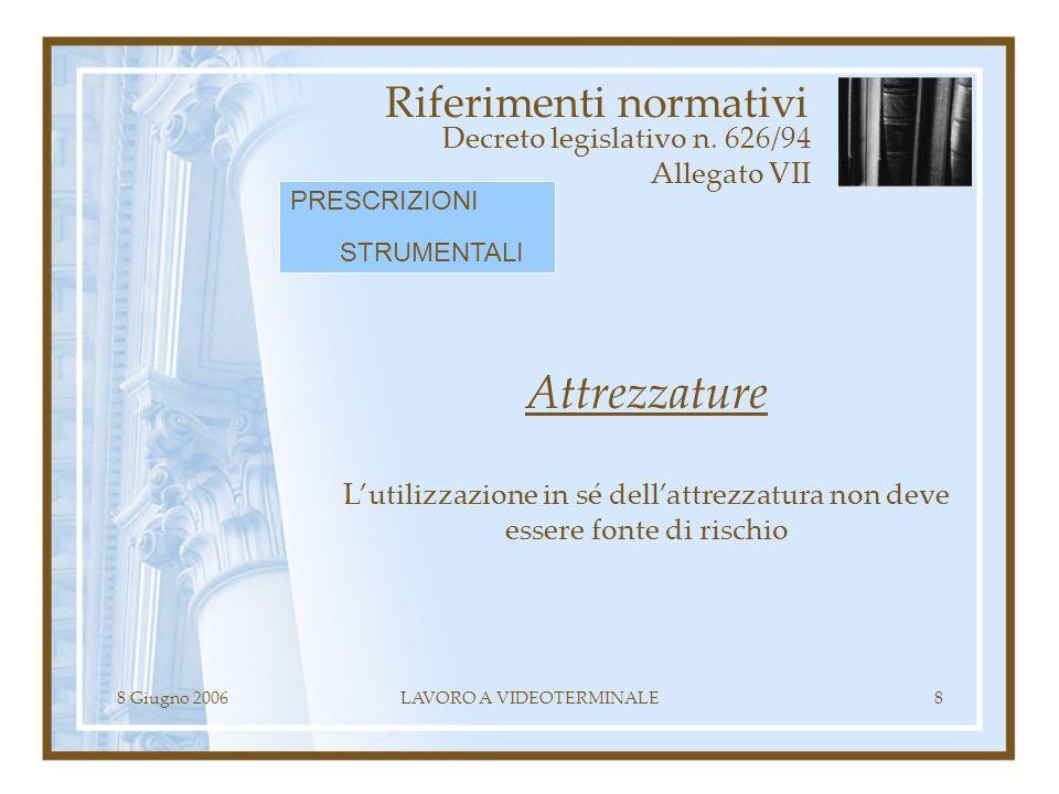 8 Giugno 2006LAVORO A VIDEOTERMINALE8 Riferimenti normativi Decreto legislativo n. 626/94 Allegato VII Attrezzature Lutilizzazione in sé dellattrezzat