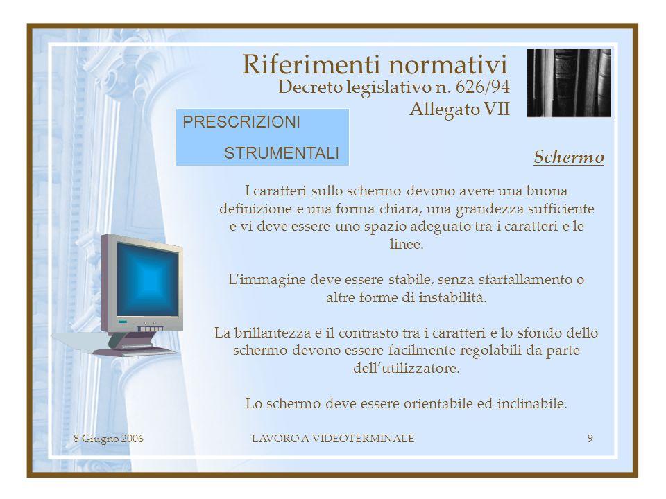 8 Giugno 2006LAVORO A VIDEOTERMINALE9 Riferimenti normativi Decreto legislativo n. 626/94 Allegato VII I caratteri sullo schermo devono avere una buon