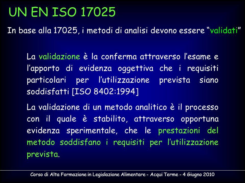 UN EN ISO 17025 In base alla 17025, i metodi di analisi devono essere validati La validazione è la conferma attraverso lesame e lapporto di evidenza o