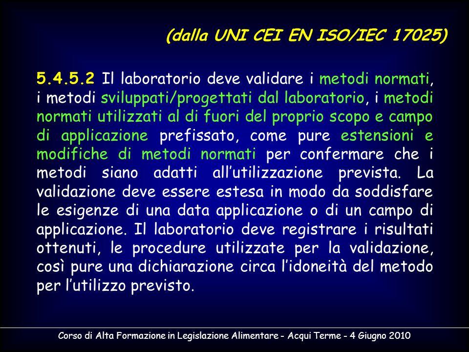 Corso di Alta Formazione in Legislazione Alimentare - Acqui Terme - 4 Giugno 2010 5.4.5.2 Il laboratorio deve validare i metodi normati, i metodi svil