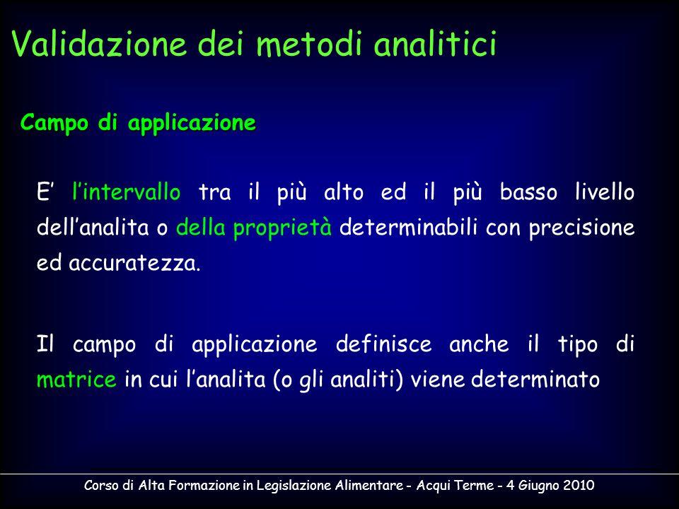 Corso di Alta Formazione in Legislazione Alimentare - Acqui Terme - 4 Giugno 2010 Campo di applicazione E lintervallo tra il più alto ed il più basso
