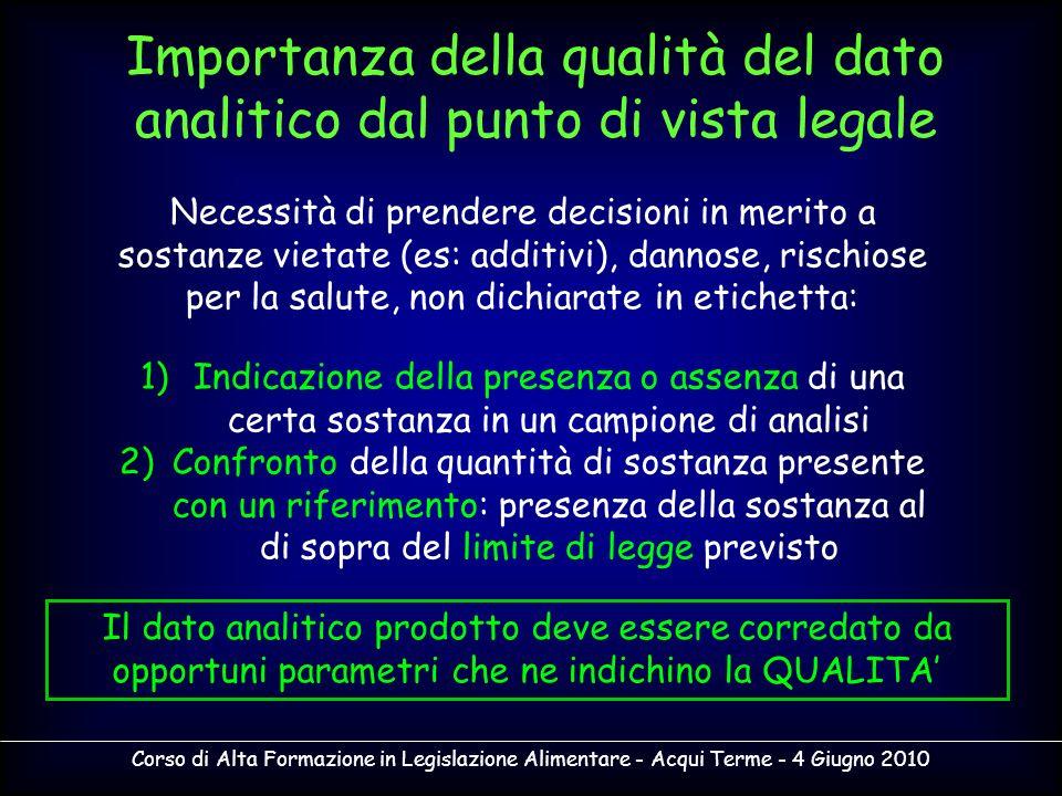 Corso di Alta Formazione in Legislazione Alimentare - Acqui Terme - 4 Giugno 2010 Il processo di validazione richiede quindi di esplicitare le caratteristiche di prestazione del metodo attraverso opportuni parametri.