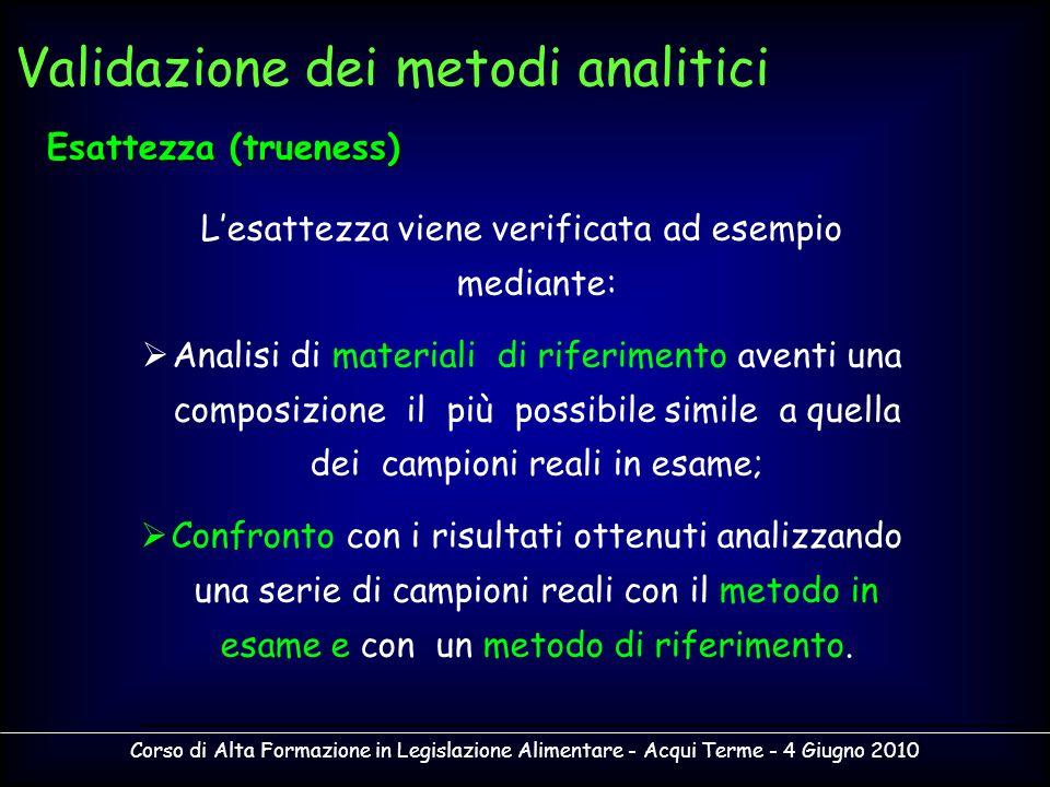 Corso di Alta Formazione in Legislazione Alimentare - Acqui Terme - 4 Giugno 2010 Lesattezza viene verificata ad esempio mediante: Analisi di material