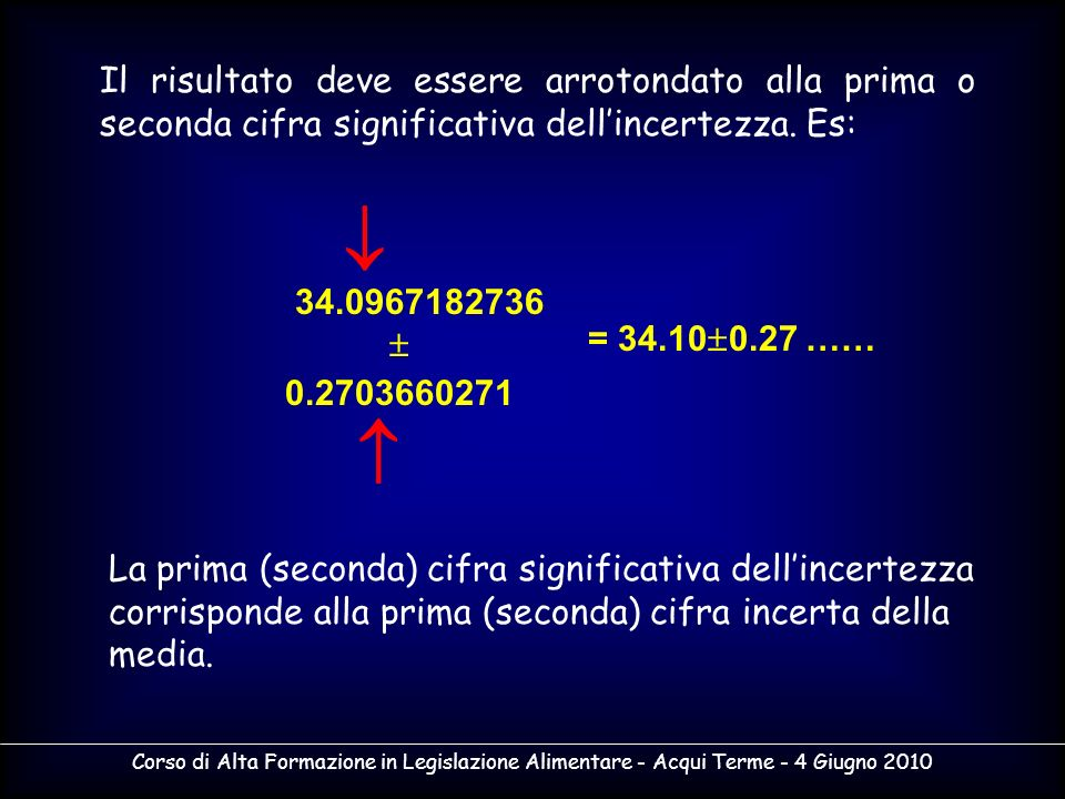 Corso di Alta Formazione in Legislazione Alimentare - Acqui Terme - 4 Giugno 2010 Il risultato deve essere arrotondato alla prima o seconda cifra sign