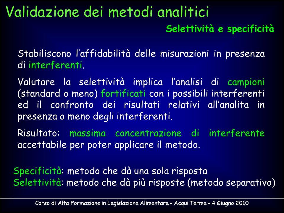 Corso di Alta Formazione in Legislazione Alimentare - Acqui Terme - 4 Giugno 2010 Stabiliscono laffidabilità delle misurazioni in presenza di interfer