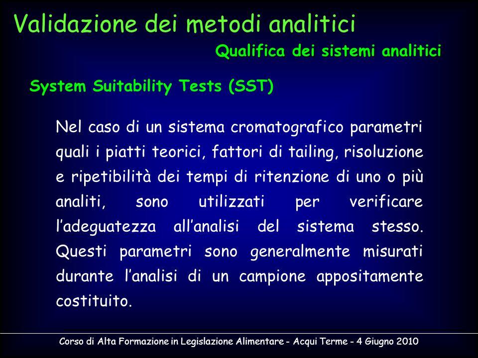 Corso di Alta Formazione in Legislazione Alimentare - Acqui Terme - 4 Giugno 2010 Nel caso di un sistema cromatografico parametri quali i piatti teori