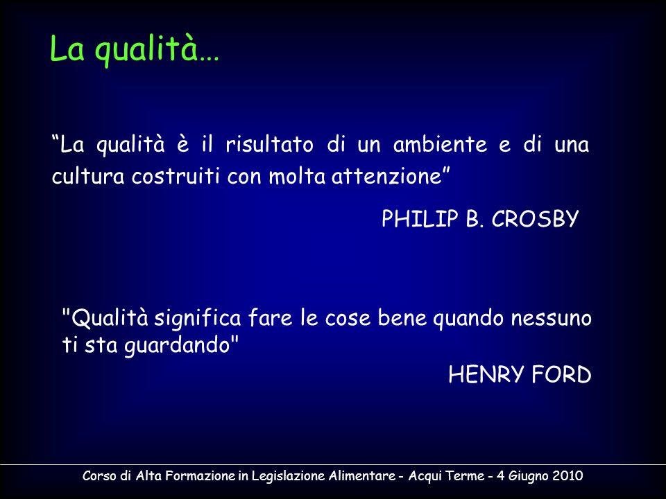 Corso di Alta Formazione in Legislazione Alimentare - Acqui Terme - 4 Giugno 2010 La qualità è il risultato di un ambiente e di una cultura costruiti