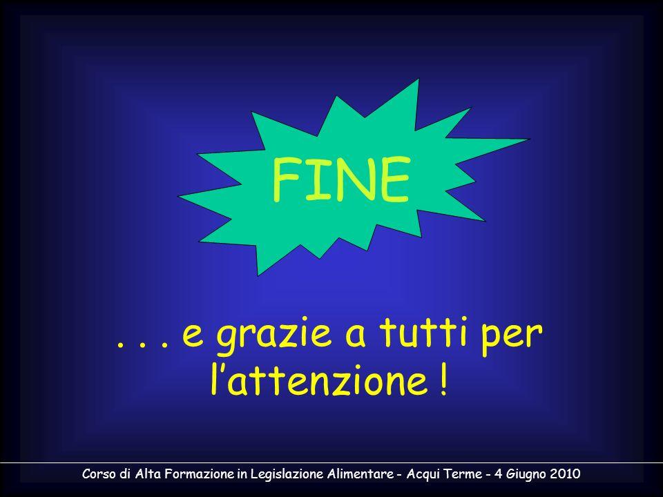 Corso di Alta Formazione in Legislazione Alimentare - Acqui Terme - 4 Giugno 2010... e grazie a tutti per lattenzione ! FINE