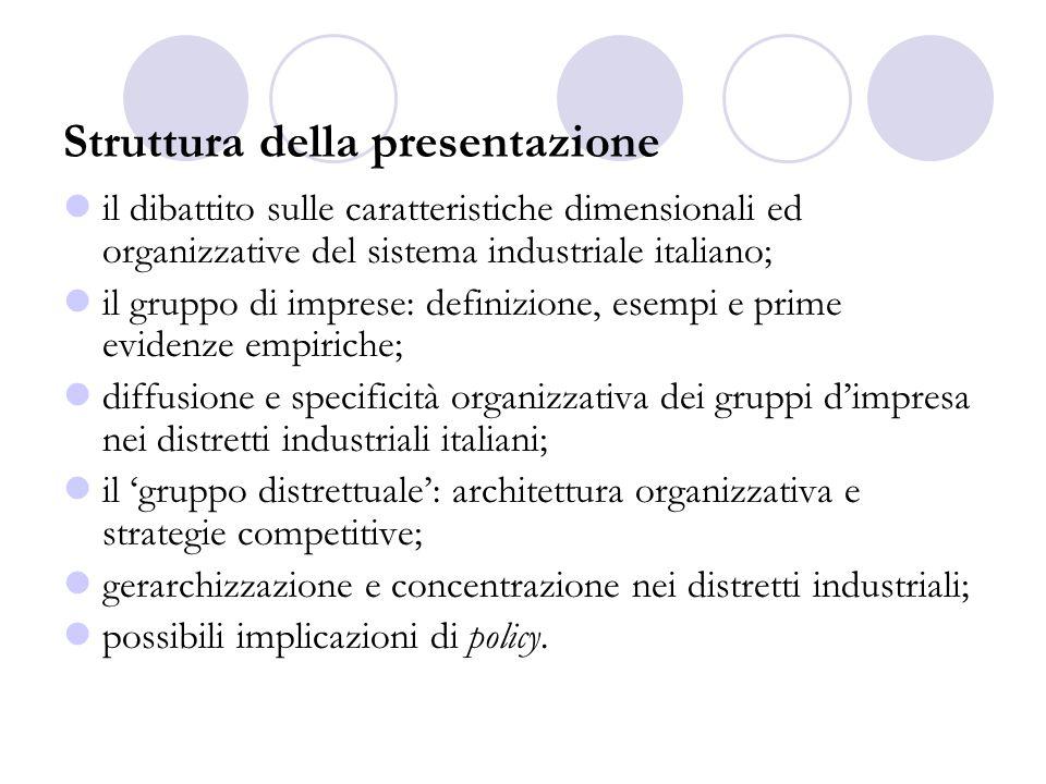 Il gruppo distrettuale: architettura organizzativa e strategie competitive
