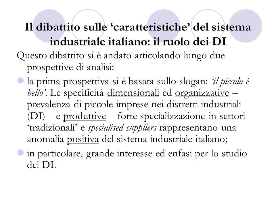 Il dibattito sulle caratteristiche del sistema industriale italiano: il ruolo dei DI Questo dibattito si è andato articolando lungo due prospettive di analisi: la prima prospettiva si è basata sullo slogan: il piccolo è bello.