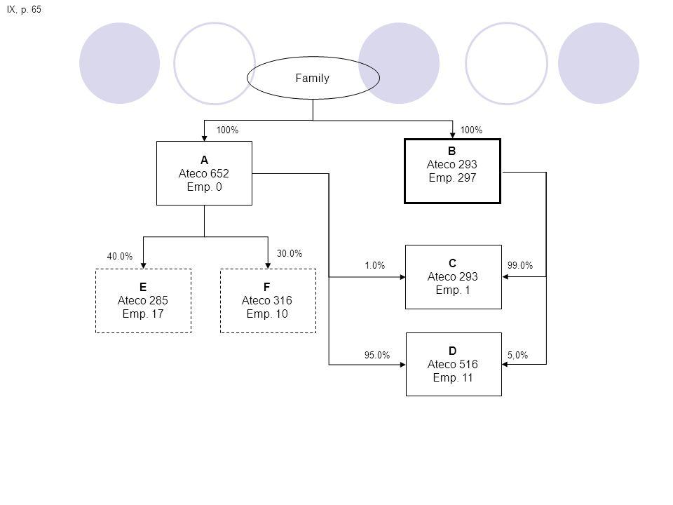 Family A Ateco 652 Emp.0 B Ateco 293 Emp. 297 C Ateco 293 Emp.