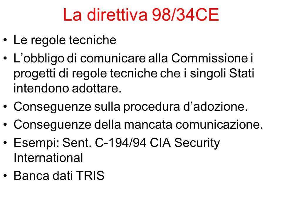 La direttiva 98/34CE Le regole tecniche Lobbligo di comunicare alla Commissione i progetti di regole tecniche che i singoli Stati intendono adottare.