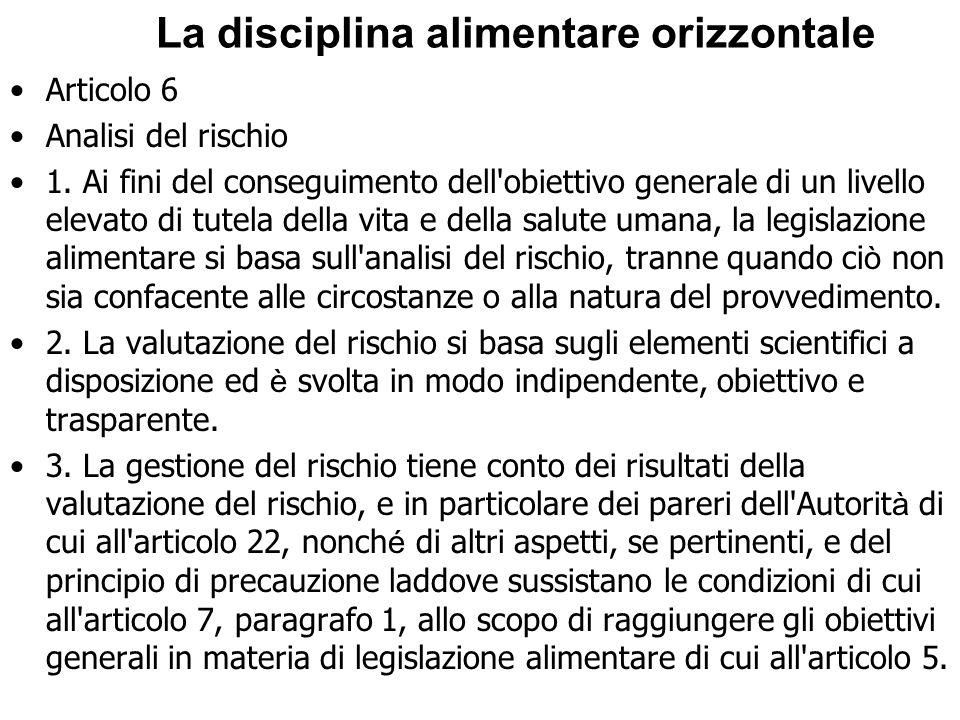 La disciplina alimentare orizzontale Articolo 6 Analisi del rischio 1. Ai fini del conseguimento dell'obiettivo generale di un livello elevato di tute