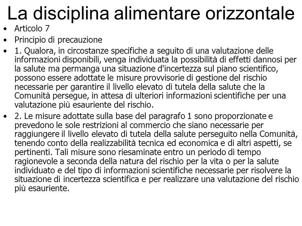 La disciplina alimentare orizzontale Articolo 7 Principio di precauzione 1. Qualora, in circostanze specifiche a seguito di una valutazione delle info