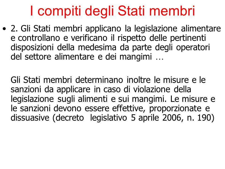 I compiti degli Stati membri 2. Gli Stati membri applicano la legislazione alimentare e controllano e verificano il rispetto delle pertinenti disposiz