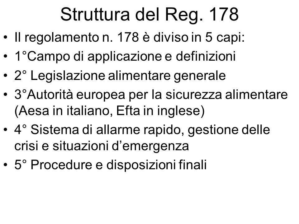 Struttura del Reg. 178 Il regolamento n. 178 è diviso in 5 capi: 1°Campo di applicazione e definizioni 2° Legislazione alimentare generale 3°Autorità