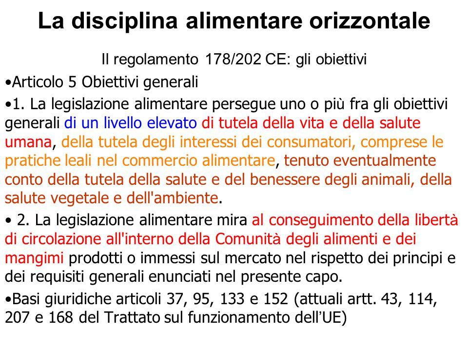 La disciplina alimentare orizzontale Il regolamento 178/202 CE: gli obiettivi Articolo 5 Obiettivi generali 1. La legislazione alimentare persegue uno