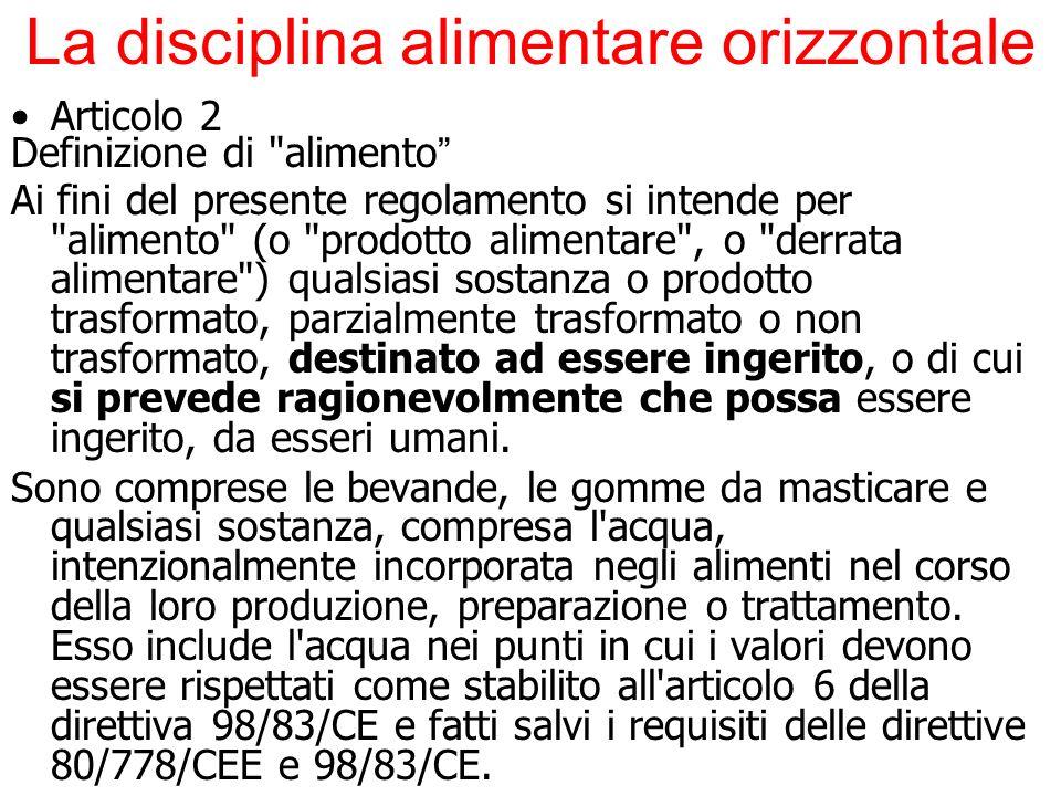 La disciplina alimentare orizzontale Articolo 2 Definizione di
