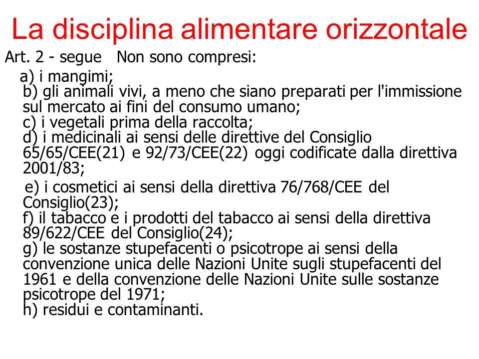 La disciplina alimentare orizzontale Art. 2 - segue Non sono compresi: a) i mangimi; b) gli animali vivi, a meno che siano preparati per l'immissione