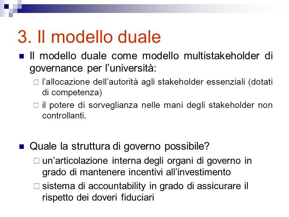 3. Il modello duale Il modello duale come modello multistakeholder di governance per luniversità: lallocazione dellautorità agli stakeholder essenzial