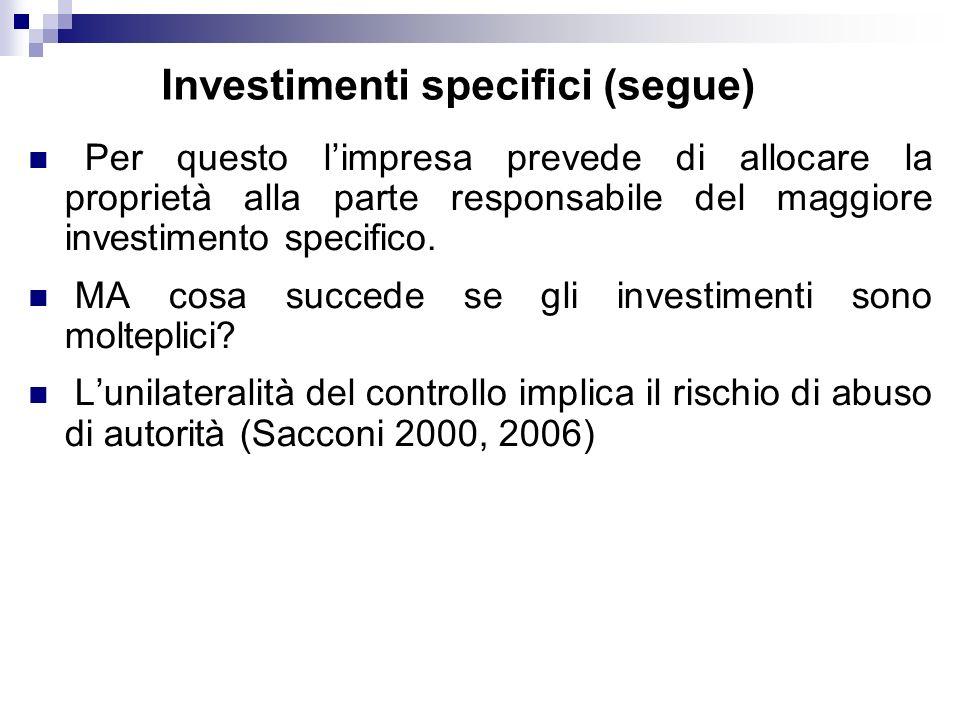 Investimenti specifici (segue) Per questo limpresa prevede di allocare la proprietà alla parte responsabile del maggiore investimento specifico.