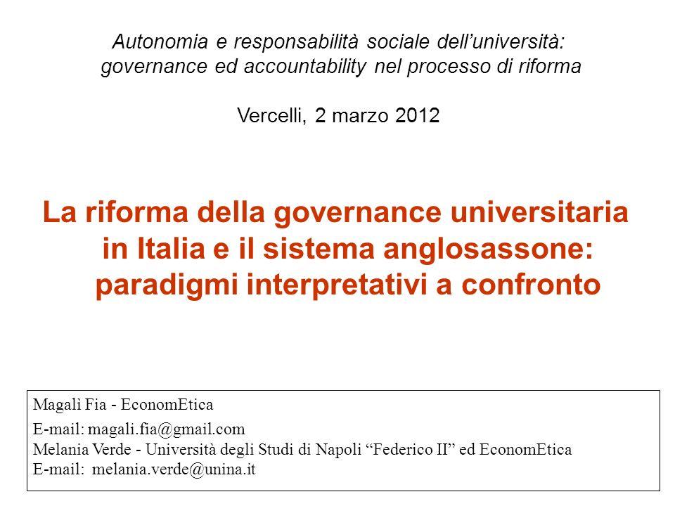 Obiettivo: Confrontare il processo di riforma in corso in Italia con due modelli interpretativi dellesperienza statunitense (democratico vs.