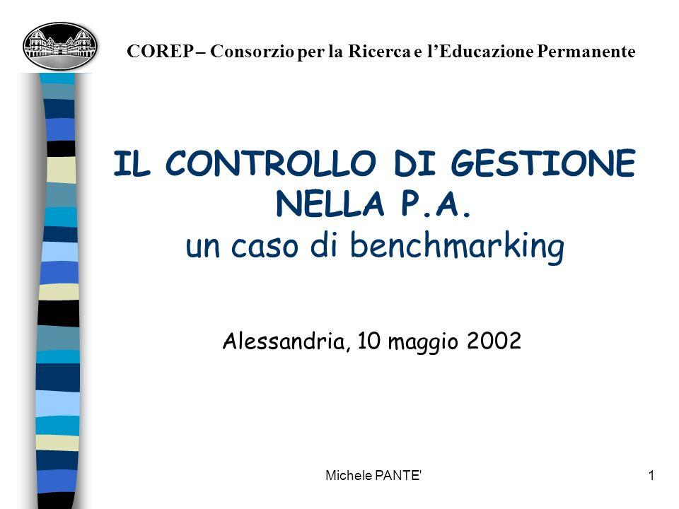 Michele PANTE 1 IL CONTROLLO DI GESTIONE NELLA P.A.