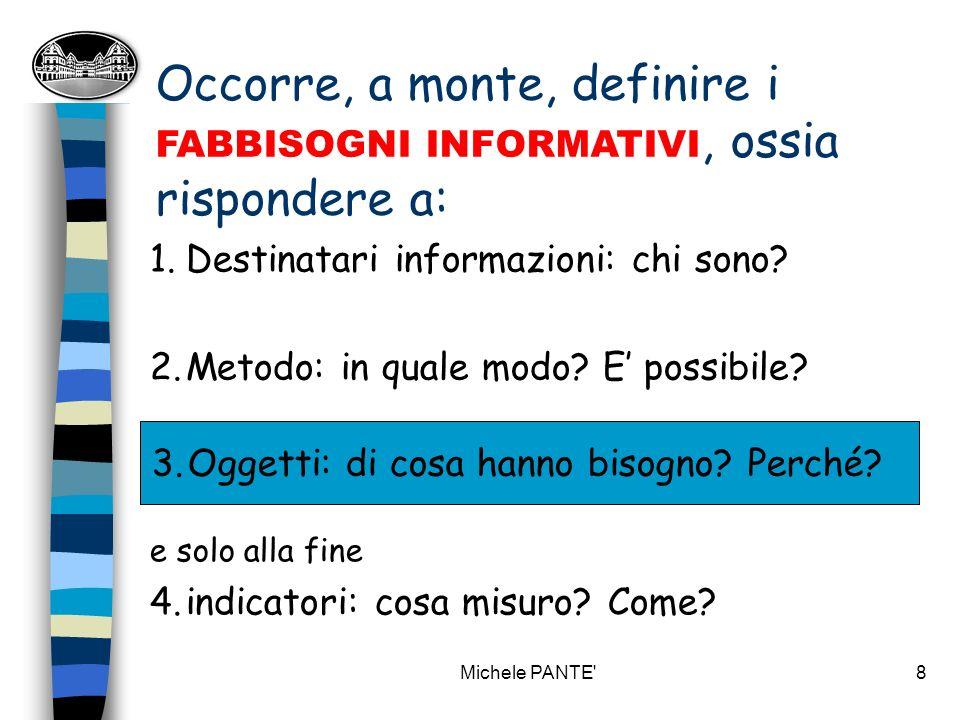 Michele PANTE 8 Occorre, a monte, definire i FABBISOGNI INFORMATIVI, ossia rispondere a: 3.Oggetti: di cosa hanno bisogno.