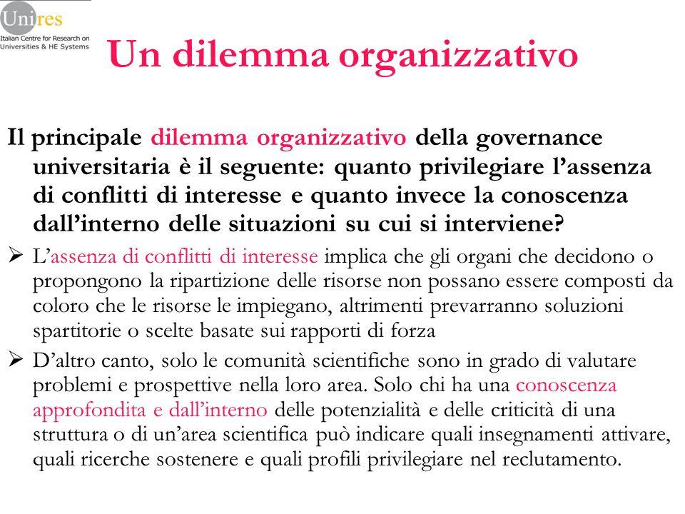 Un dilemma organizzativo Il principale dilemma organizzativo della governance universitaria è il seguente: quanto privilegiare lassenza di conflitti di interesse e quanto invece la conoscenza dallinterno delle situazioni su cui si interviene.