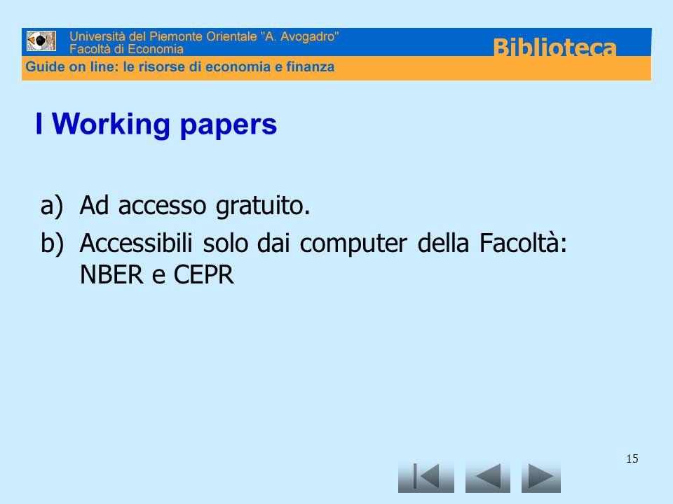 15 I Working papers a)Ad accesso gratuito. b)Accessibili solo dai computer della Facoltà: NBER e CEPR