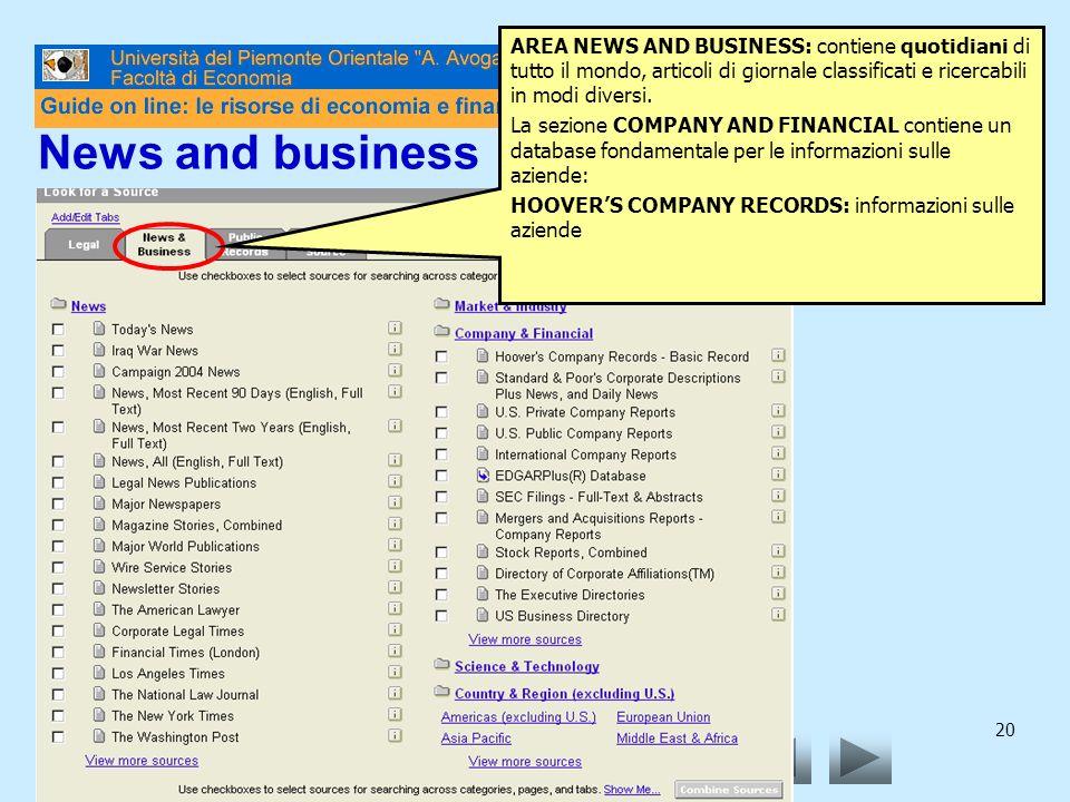 20 AREA NEWS AND BUSINESS: contiene quotidiani di tutto il mondo, articoli di giornale classificati e ricercabili in modi diversi. La sezione COMPANY