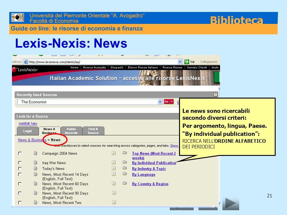 21 Lexis-Nexis: News Le news sono ricercabili secondo diversi criteri: Per argomento, lingua, Paese.