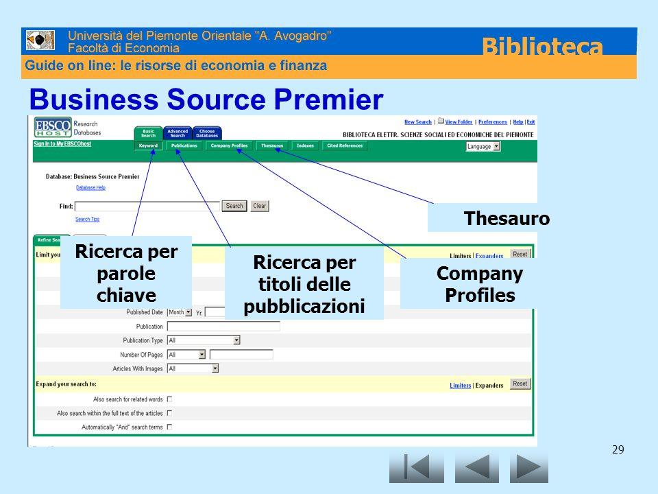 29 Business Source Premier Ricerca per parole chiave Ricerca per titoli delle pubblicazioni Company Profiles Thesauro