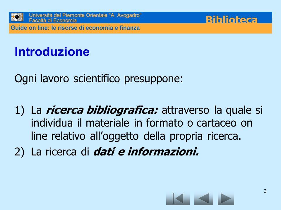 3 Introduzione Ogni lavoro scientifico presuppone: 1)La ricerca bibliografica: attraverso la quale si individua il materiale in formato o cartaceo on line relativo alloggetto della propria ricerca.