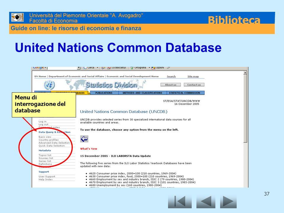 37 United Nations Common Database Menu di interrogazione del database