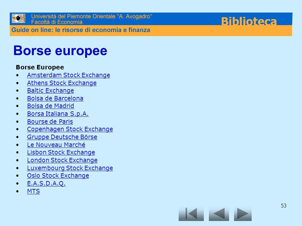 53 Borse europee Borse Europee Amsterdam Stock Exchange Athens Stock Exchange Baltic Exchange Bolsa de Barcelona Bolsa de Madrid Borsa Italiana S.p.A.