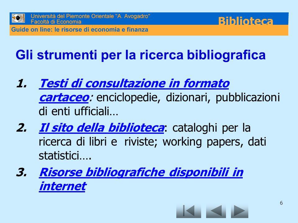 6 Gli strumenti per la ricerca bibliografica 1.Testi di consultazione in formato cartaceo: enciclopedie, dizionari, pubblicazioni di enti ufficiali…Te